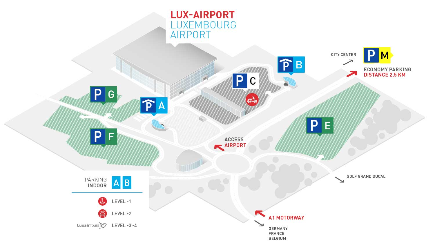Parking luxembourg airport luxembourg airport for Short term parking at lax