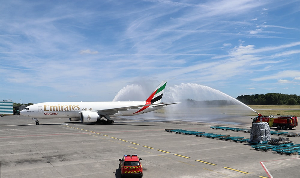 Emirates SkyCargo was welcomed at Luxembourg Airport with the traditional water salute. Picture: Claude Schmit