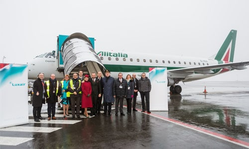 Luxair Luxembourg Airlines, Alitalia and lux-Airport's officials warmly welcome the first flight LG6622 that arrived this morning at Luxembourg airport.
